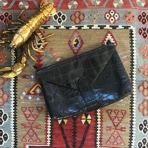 VTG Large Embossed Leather Clutch